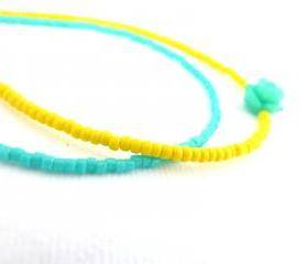 Neon Beaded Bracelets - Opaque Yellow & turquoise - Set of two miyuki delica seed beads bracelets - Minimal friendship bracelets