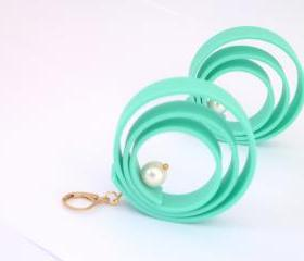 mint rubber earrings, mint earrings ,Rubber dangle earrings , circular swirl earrings
