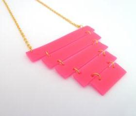 Neon geometric necklace , Neon pink, Minimal necklace, Gold plated chain , Rubber Jewelry , Industrial inspired jewelry